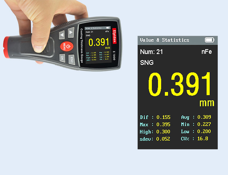 values of coating thickness gauge